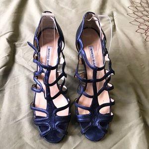 Metallic selective Blue Cage Manolo Blahnik  Heels